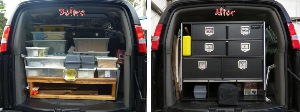 Custom Van Storage System Before & After